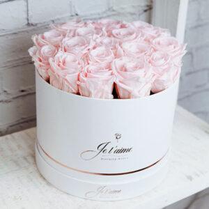Je t'aime Eternity Roses White Box Medium